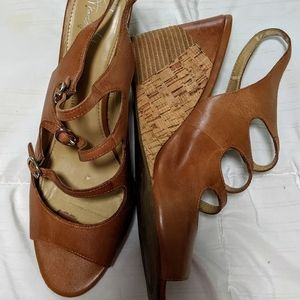 Frankie Sarto Leather Wedge Sandles